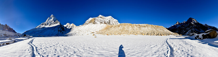panorama of Tapovan meadow with mount Shivling and Meru, Garhwal