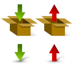 3d boxes with up and down arrows and Isolated arrows with own, u