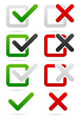 Stylish checkmark and cross set with green, red and grey colors