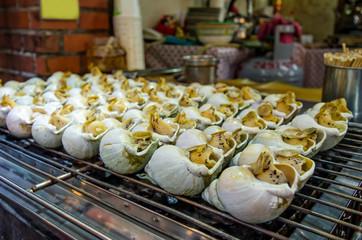 Grill snails in Jiufen,Taiwan