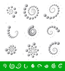Circular elements. Dotted motifs with different rotation effects