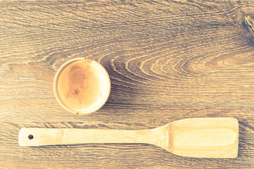 Wooden utensils on the table