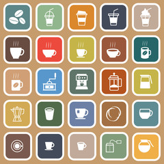 Coffee flat icons on brown background