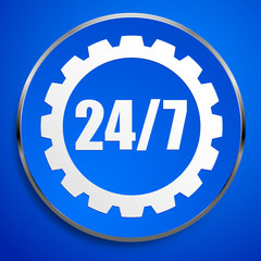 24/7 badge for repair or manufacturing concepts.