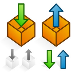 Upload, download or pack unpack concept icons