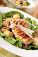 Caesar salad with griddled chicken fillet