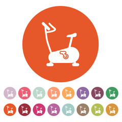 The exercise bike icon. Exercycle symbol. Flat