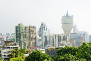 Beautiful view of Macau city and buildings of casino