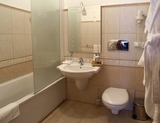 contemporary interior bathroom in the hotel