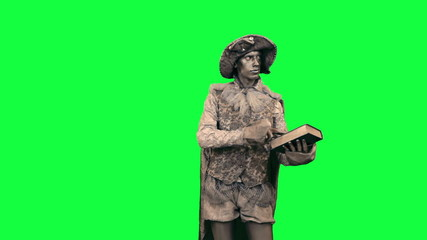 Living statue with a book Chromakey