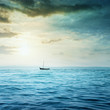 Small boat in the sea. - 80662655