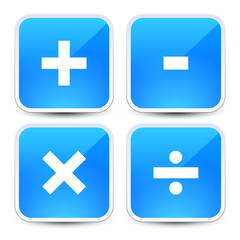 Math symbols on blue backgrounds (addition, subtraction, multipl