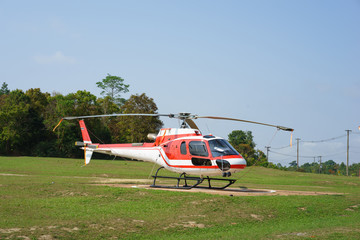 Helicopter parked at the helipad near forest