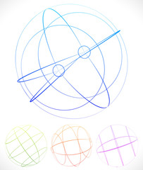 Spherical graphics with wireframe