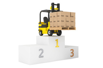 Best Delivering Concet. Forklift truck with boxes over Winners P