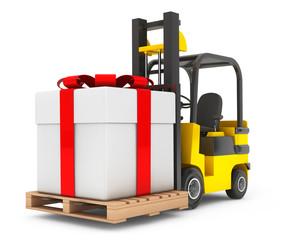 Forklift Truck moves Huge Gift Box