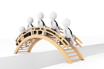 3d businessmans crossing bridge