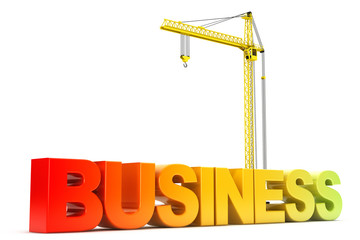 Business Sign with Hoisting Crane