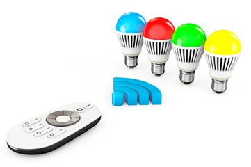 Closeup LED bulbs with Remote Controller and WiFi Sign