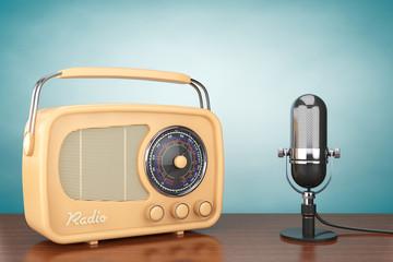 Retro Radio and Vintage Microphone