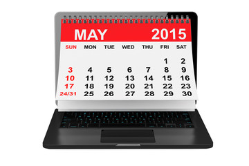 May 2015 calendar over laptop screen