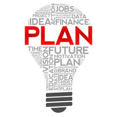 PLAN bulb word cloud, business concept