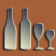 wine bottle sign set. Bottle icon. Сrockery.