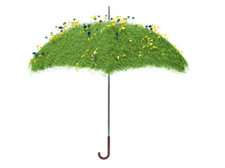 umbrella covered with green grass. isolated on white background