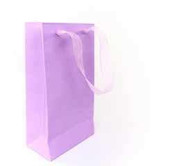 Pastel lilac shopping bag isolated on white