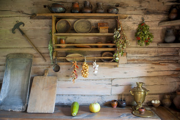 kitchen in the house of a poor peasant in the old Russian style