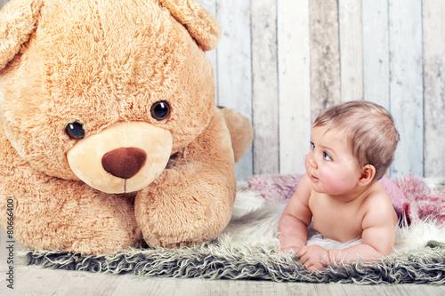obraz PCV Freundschaft - Baby und Teddy