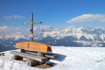 Top of Gasselhohe with bench and crucifix, Austria