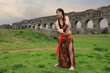 Female arabian warrior with sword