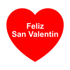 Icono texto Feliz San Valentin en corazon