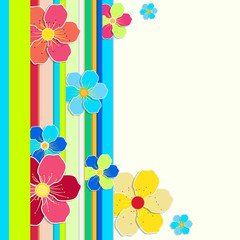 Bright card with a border of colored stripes and flowers.