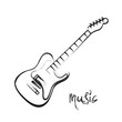 Electric Guitar hand drawn, easy all editable - 80667060