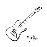 Electric Guitar hand drawn, easy all editable