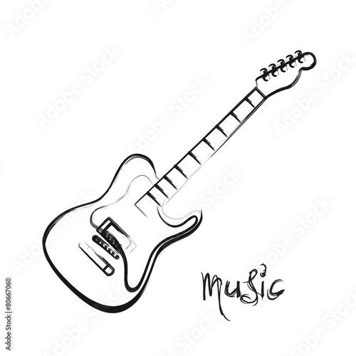 Electric Guitar hand drawn, easy all editable - 80667060