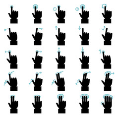 Touch gestures icons set