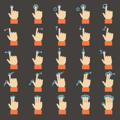 Touch gestures icons set, flat design