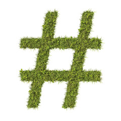 Hashtag made from grass