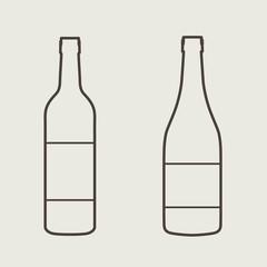 wine bottle sign set. Bottle icon.