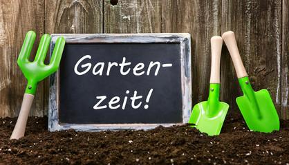 Gartenzeit Tafel Holz Erde Hintergrund
