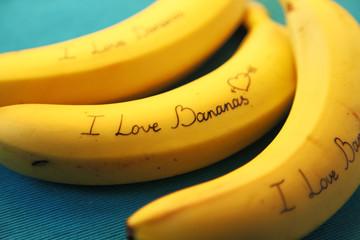Image of banana with calligraphy I Love Bananas