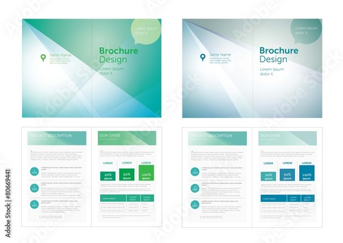 Fototapeta Vector_Blue,Green Brochure Design.