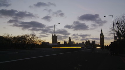 Zoom in time lapse of traffic on Westminster Bridge in London