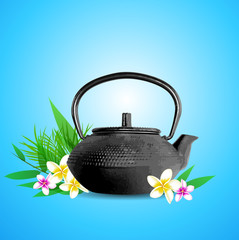 Tropical flowers and teapot