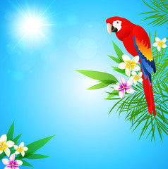 Tropical background with red parrot