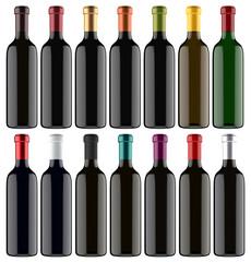 Set of 3D Wine Bottles