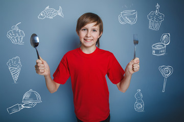 teenager boy with a spoon and fork infographics lot of food coll